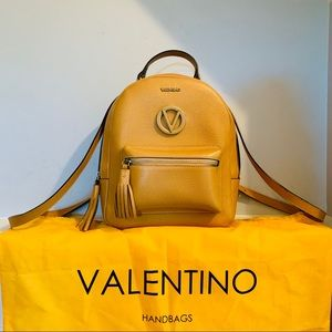 Valentino Bastien Leather Backpack in Cookie
